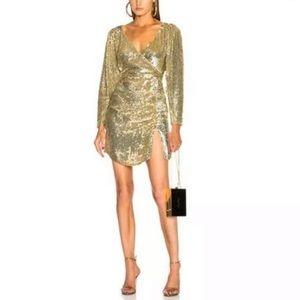 Retrofete Roxy gold sequin dress sz L large